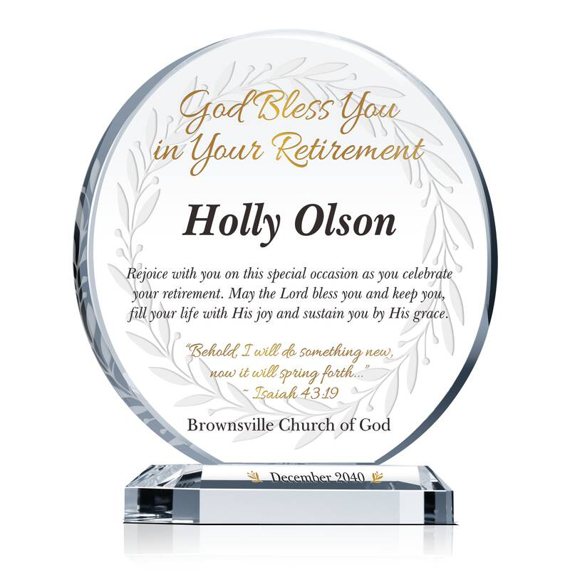 Circle Shaped Crystal Religious Retirement Gift Plaque