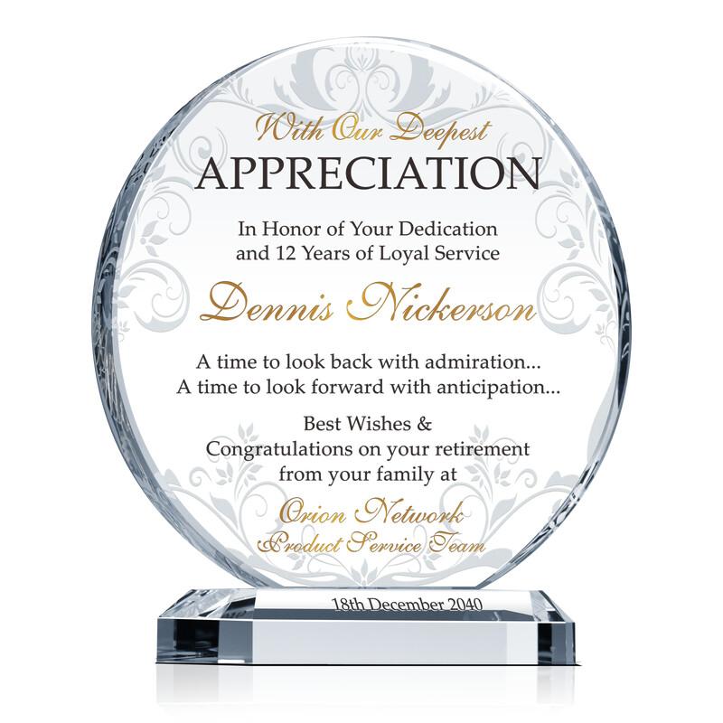Circle-Shaped Crystal Employee Retirement Appreciation Award Plaque