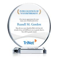Circle Crystal Employee Retirement Award Plaque