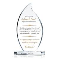 Flame Crystal Christian Retirement Gift Plaque