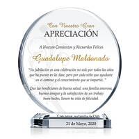 Placa de Cistal Apreciación Para Jubilación de Maestro