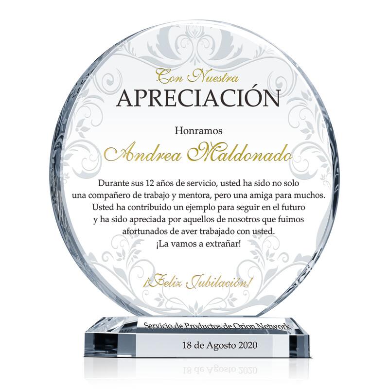 Premio de Cristal Circular Para la Jubilación