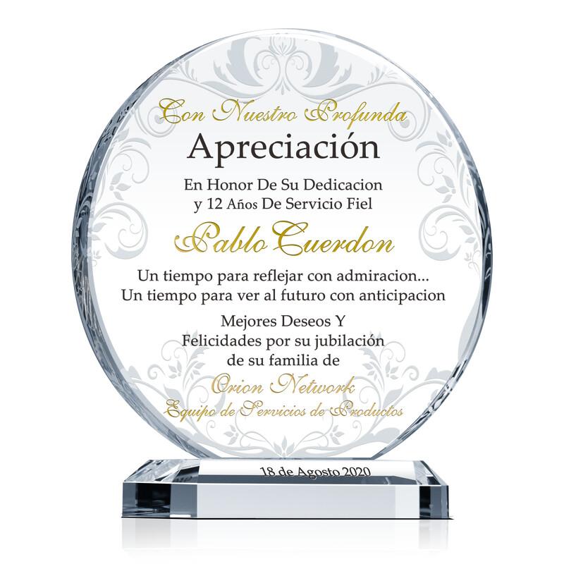 Cristal Circular de Apreciación Para la Jubilación de Empleado