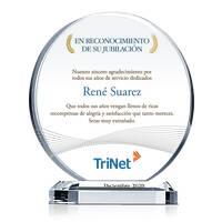 Premio de Cristal Circular Para la Jubilación de Empleado
