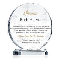 Cristal Circular de Apreciación Para la Jubilación de Mentor, Gerente, Supervisor
