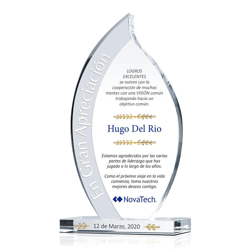 Premio de Cristal Flameado Para Despedida de Empleado