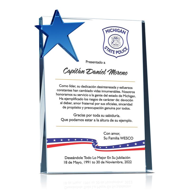 Placa de Estrellas y Rayas Patrióticas Para Jubilación de Policía