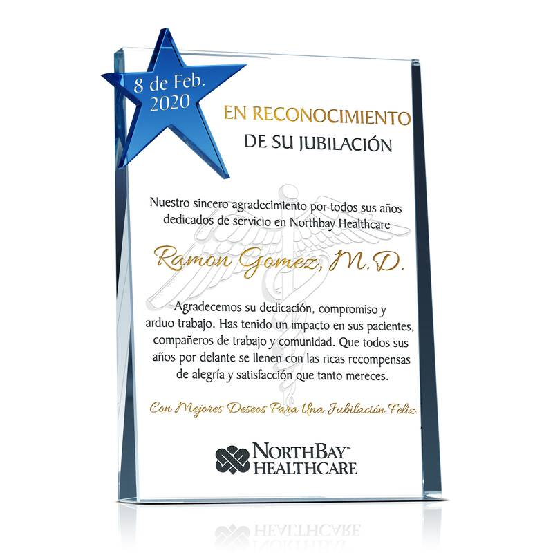 H.Place Personalizada de Cristal Para Jubilación de Doctor, Enfermera, Medico Profesional
