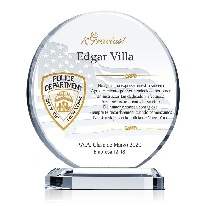 Placa de regalo de graduación de NYPD