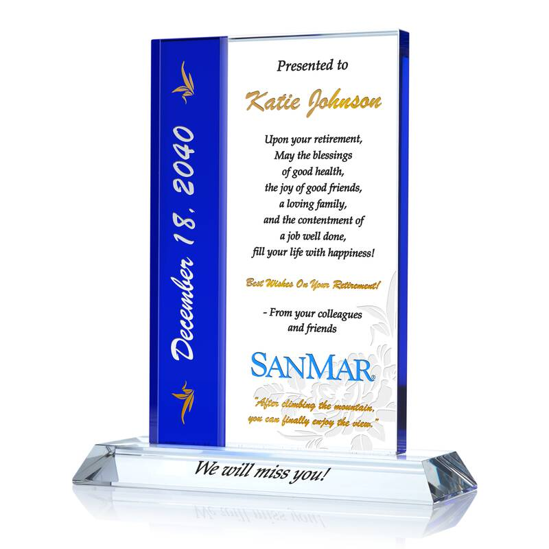 """""""Best Wishes"""" Crystal Retirement Gift Plaque for Woman"""