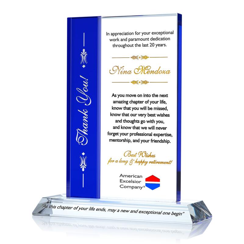 Custom Engraved Crystal Employee Retirement Appreciation Award