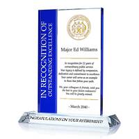 Crystal Retirement Award Plaque for Government Employee, Law Enforcement Officer