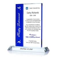 Crystal Happy Retirement Employee Recognition Award Plaque