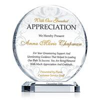 Circle Shaped Employee Appreciation Award Plaque