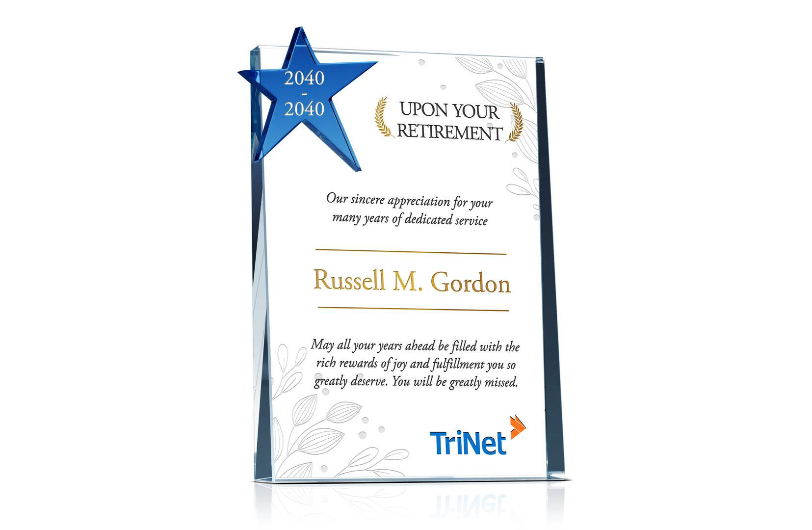 Crystal Star Retirement Gift Plaques