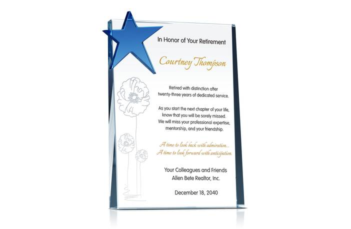 Crystal Star Retirement Gift Plaque for Woman