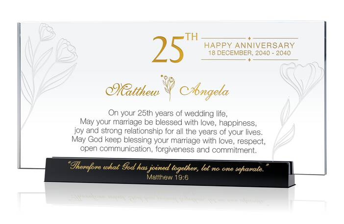 Personalized Religious 25th Wedding Anniversary Gift for Couple