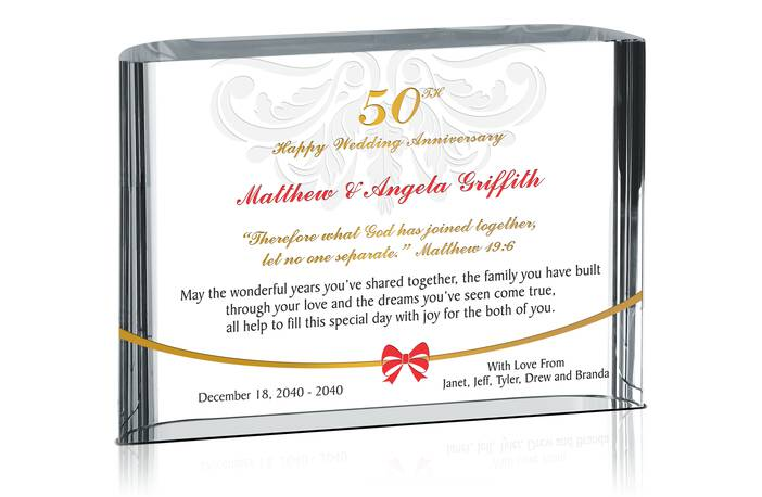 Custom Christian 50th Golden Wedding Anniversary Gift for Couple