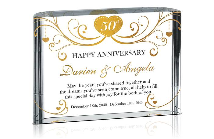 Custom 50th Golden Wedding Anniversary Gift Plaque for Parents or Friend