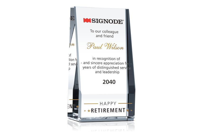 Crystal Employee Happy Retirement Award Plaque