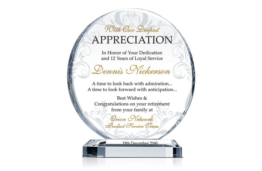 Retirement Appreciation Gift Plaque