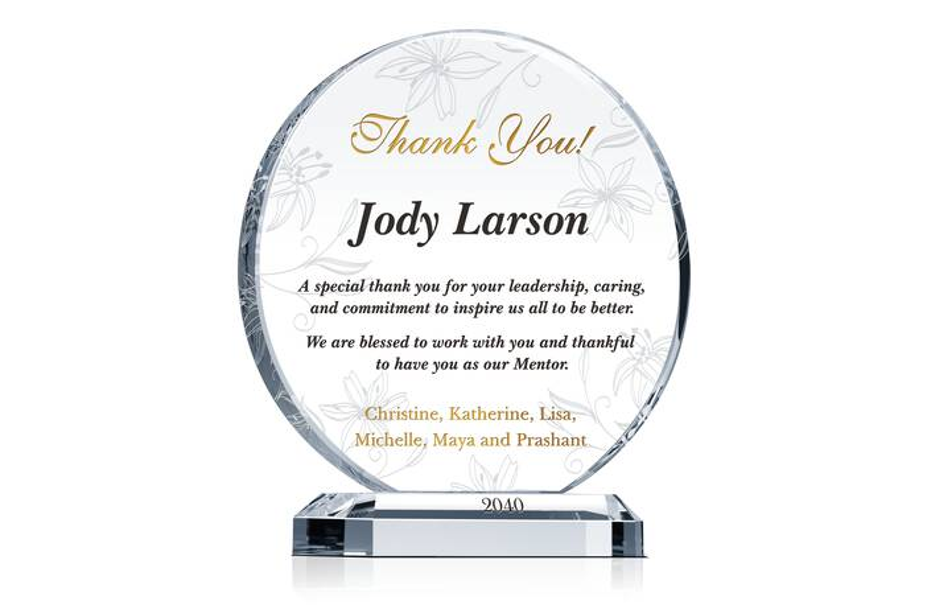 Appreciation Gift Plaque for Mentor, Manager & Supervisor