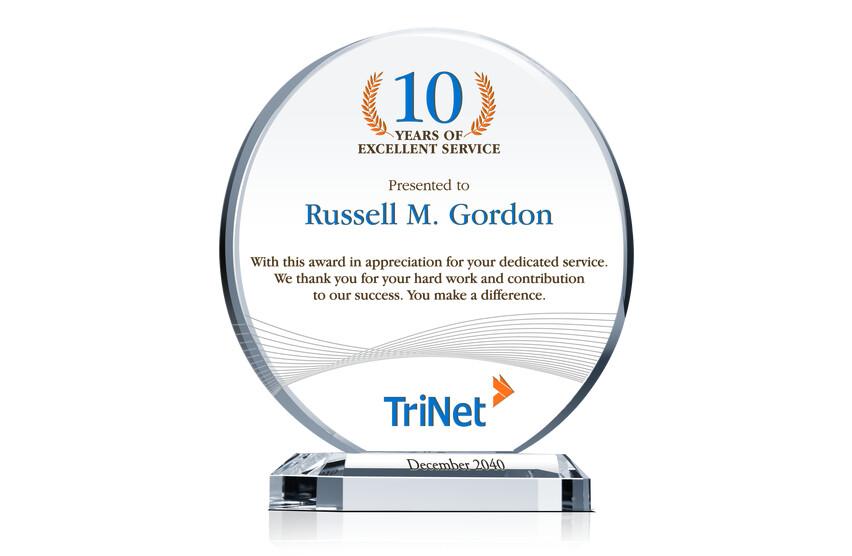 Service Appreciation Award Plaque