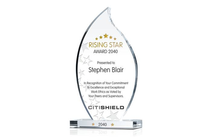 Custom Crystal Rising Star Award Plaque