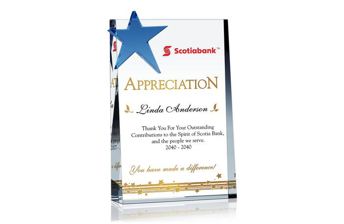 Star Service Appreciation Plaque