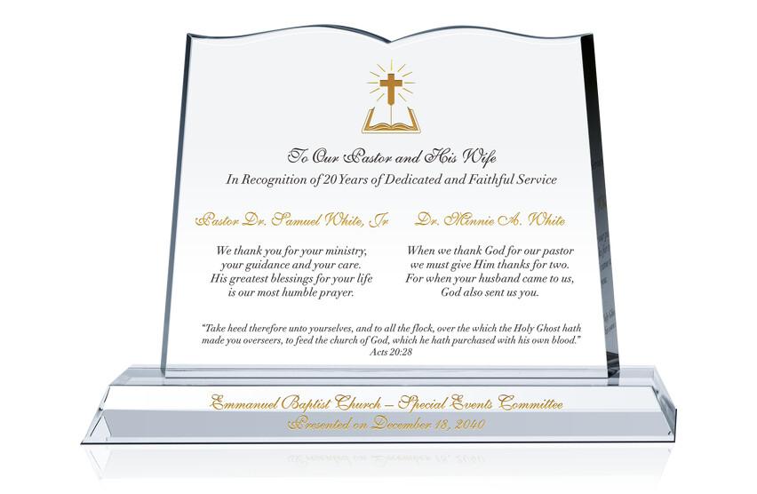 Pastor Appreciation Day Plaque