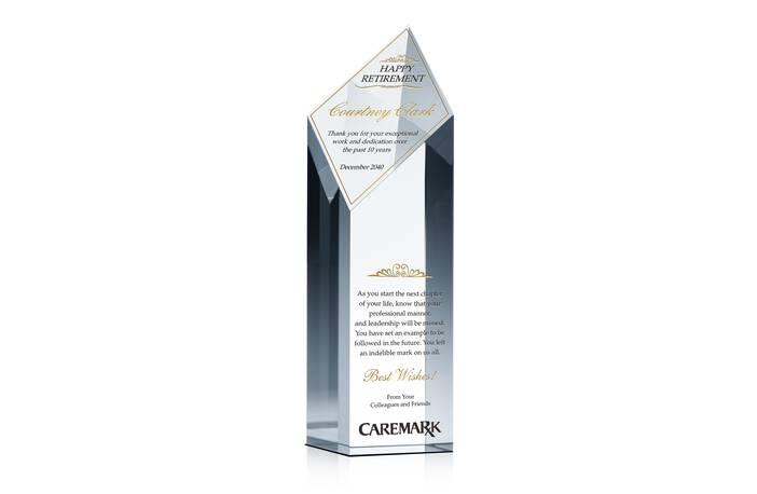 Diamond Tower Crystal Retirement Award Plaque