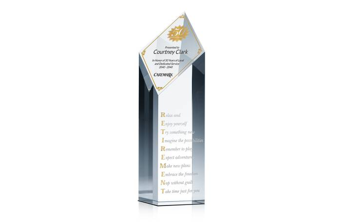 Crystal Employee Retirement Service Recognition Award Plaque
