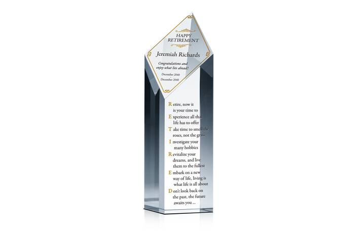Crystal Happy Retirement Award Plaque with Years of Service