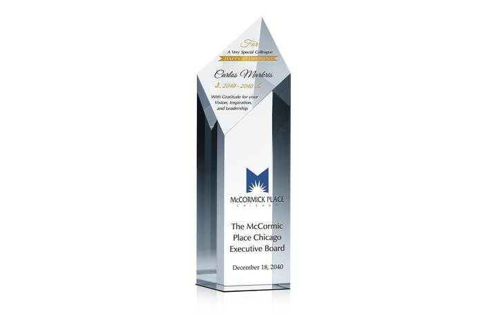 Diamond Tower Crystal Retirement Award Plaque for Colleague, Friend or Employee
