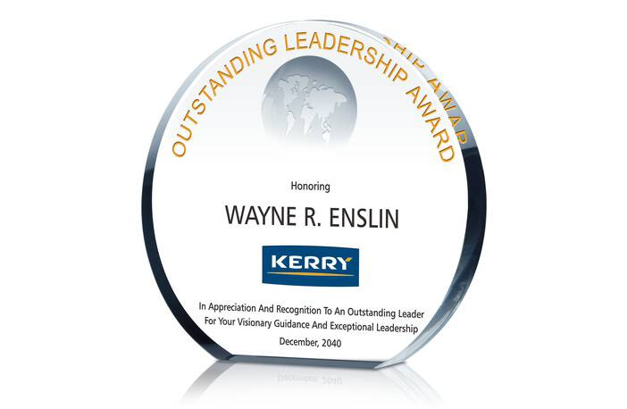 Crystal Globe Circle Shaped Leadership Award Plaque
