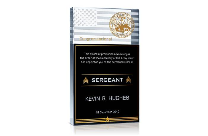Army Military Promotion Gift Plaque