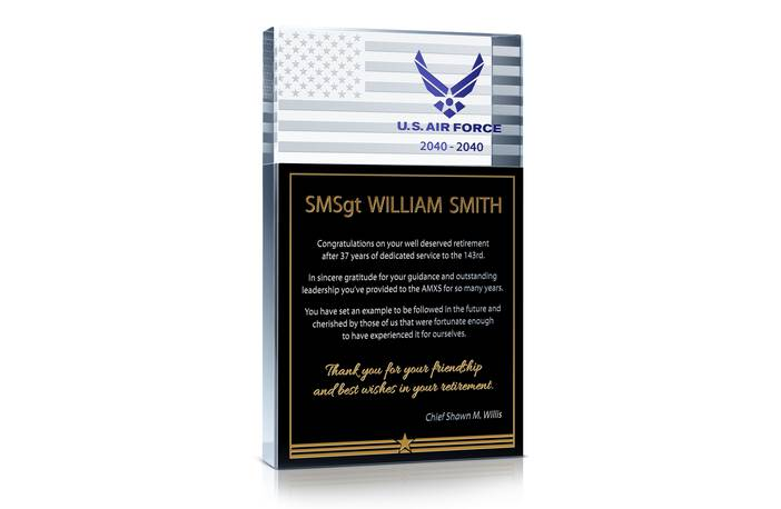 USAF Service Retirement Gift Plaque