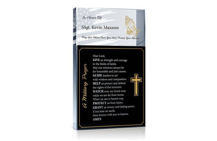 Personalized Crystal Military Prayer Gift Plaque
