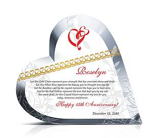 Heart Shaped Crystal Anniversary Gift