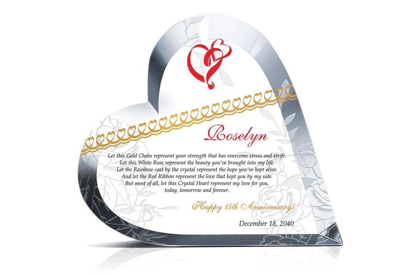 Heart Shaped Crystal Anniversary Gift