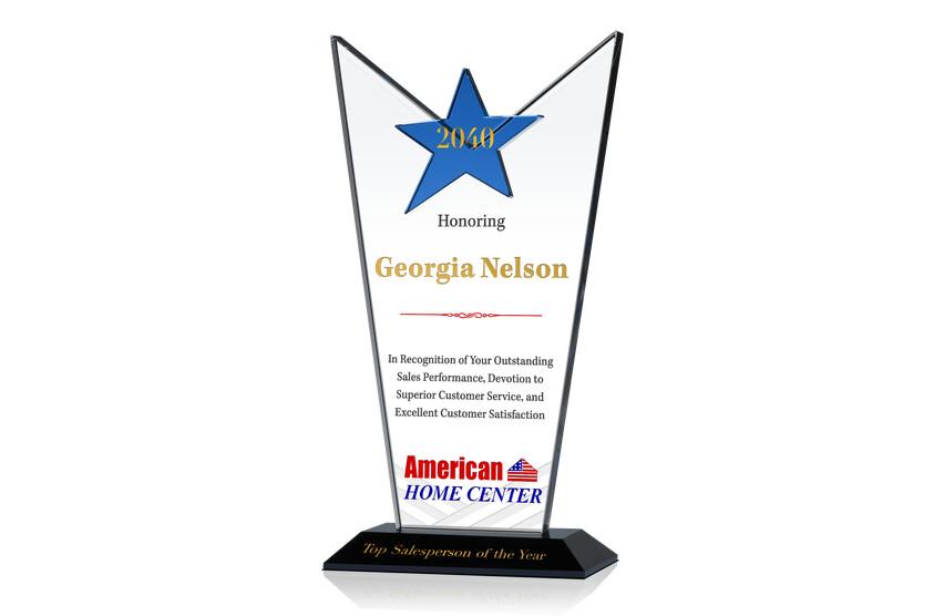 Star Crystal Top Salesperson Award Trophy