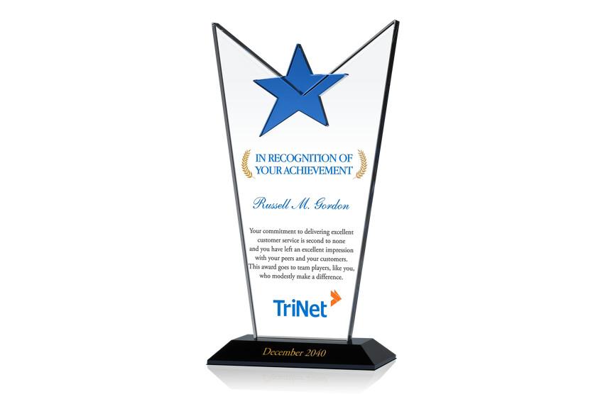 Crystal Star Employee Achievement Award Plaque