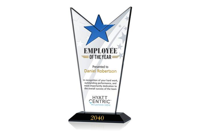 Crystal Star Employee of the Year Award Plaque