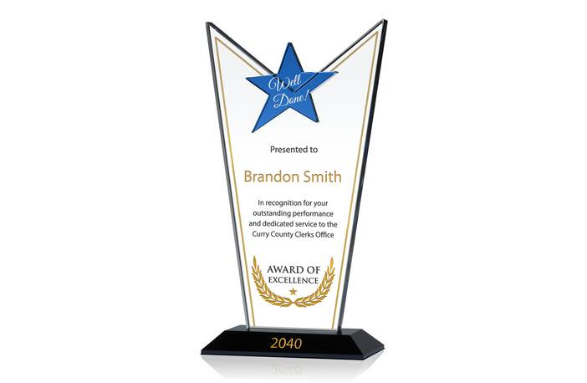 Custom Crystal Star Employee Excellence Award