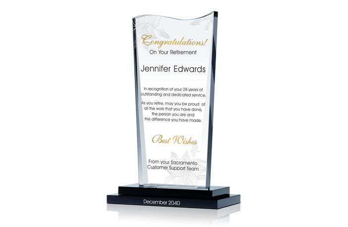 Crystal Retirement Congratulation Gift Plaque for Female Coworker