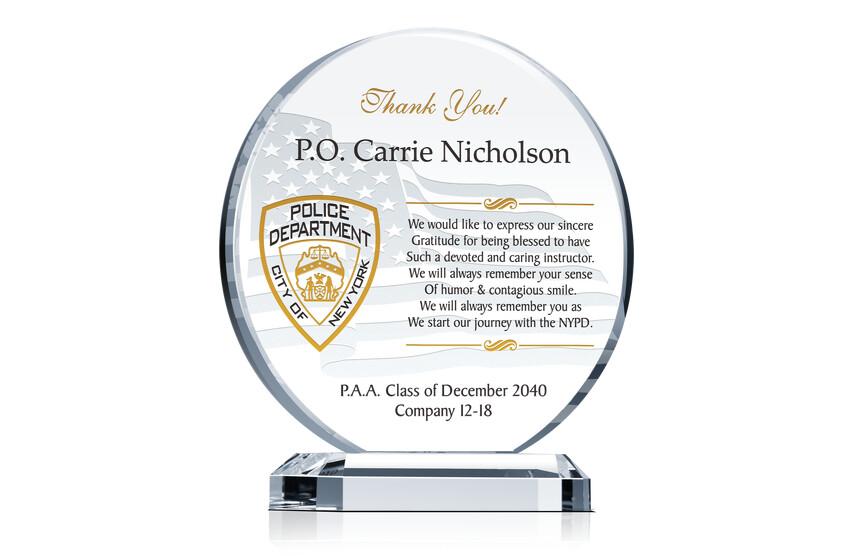 NYPD Graduation Gift Plaque