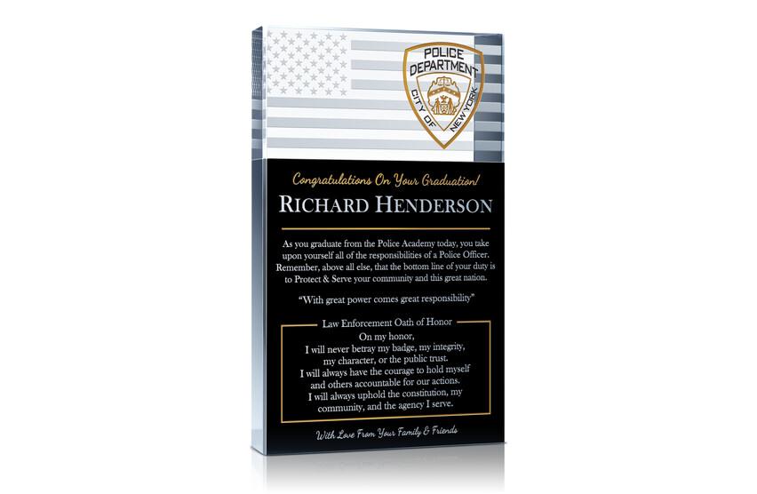 Law Enforcement Graduation Gift Plaque