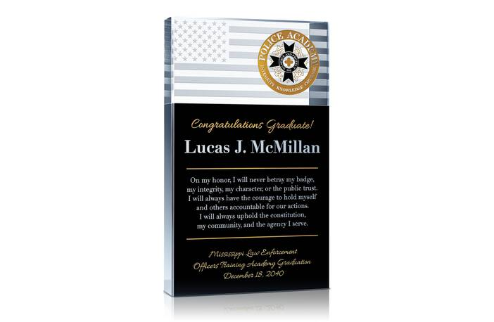 Police Graduation Gift with Oath of Honor