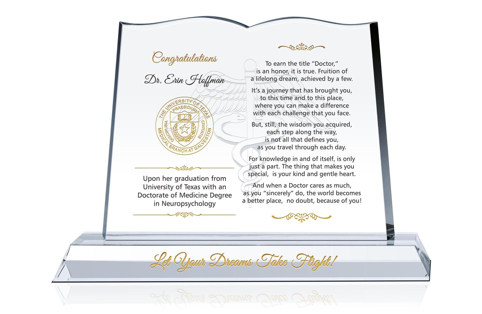 Doctor Graduation Gift Plaque