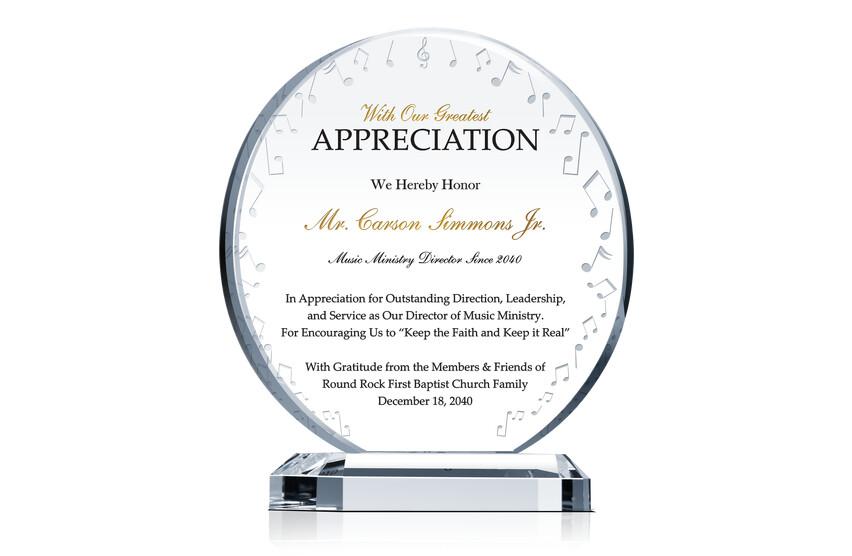 Music Ministry Director Appreciation Plaque Wording